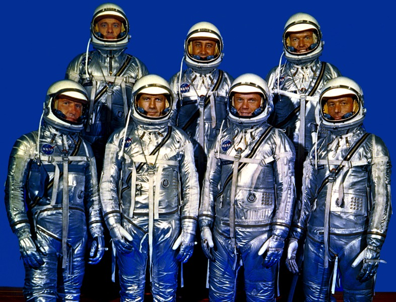Original 7 astronauts in spacesuits gpn 2000 001293