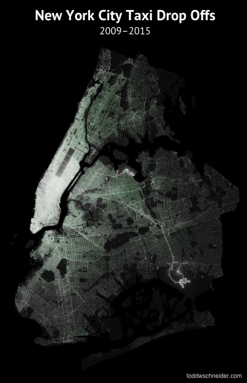 Taxi dropoffs map