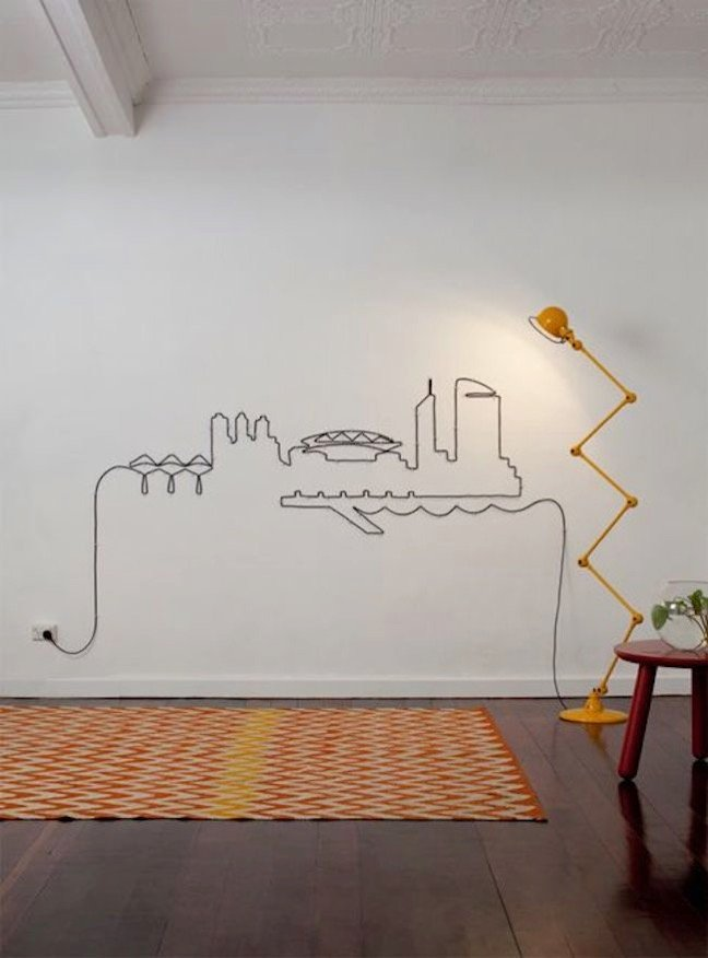"Wall art using power cords, No more ""unsightly"" cables ..."