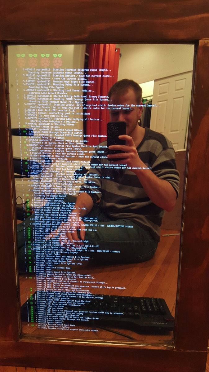 Building pi powered mirrormirror project raspberry pi for Raspberry miroir