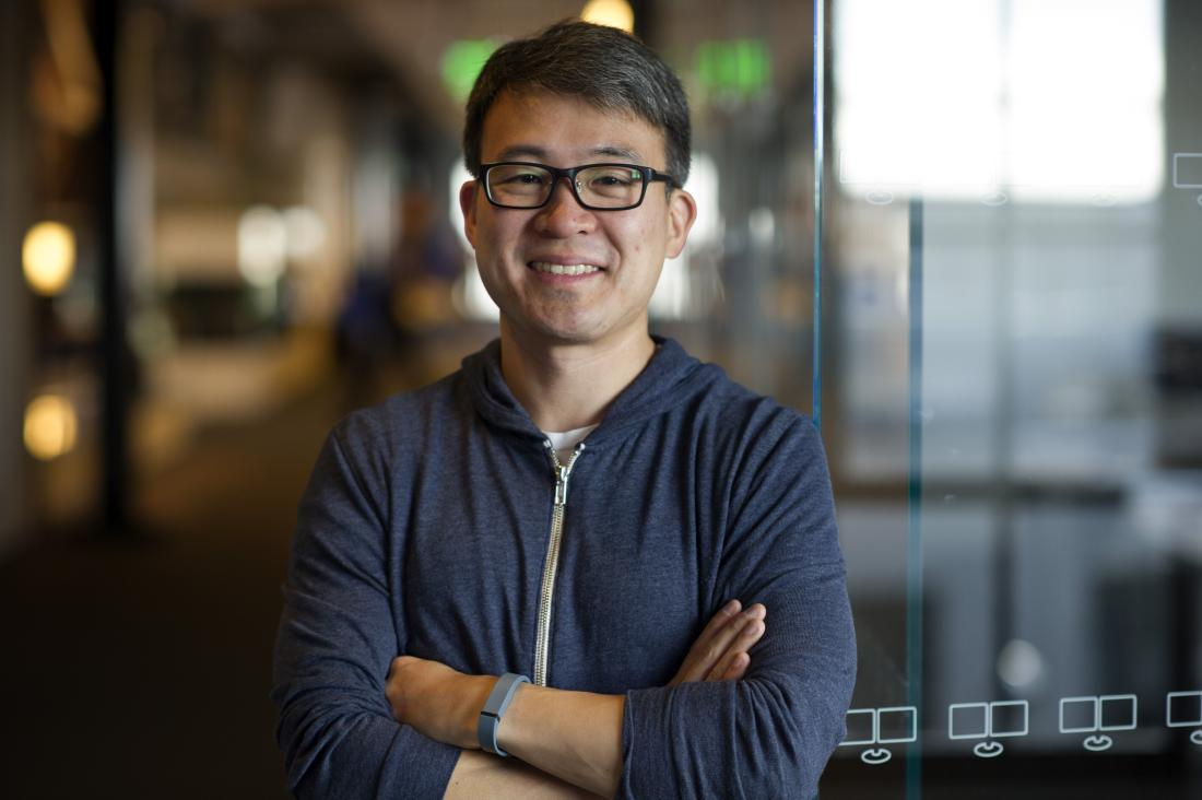 James Park, co-founder and chief executive officer of Fitbit Inc., stands for a photograph after a Bloomberg Television interview in San Francisco, California, U.S., on Friday, Aug. 22, 2014. Park spoke about privacy concerns and the business and future of wearables. Photographer: David Paul Morris/Bloomberg via Getty Images
