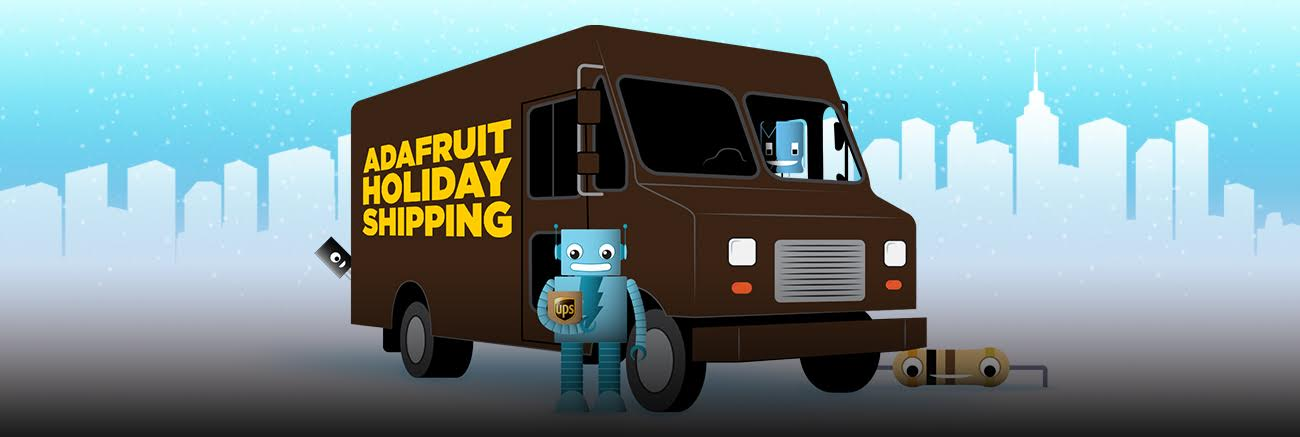 Adabot stands in front of a brown delivery truck with the words Adafruit Holiday Shipping written on the side