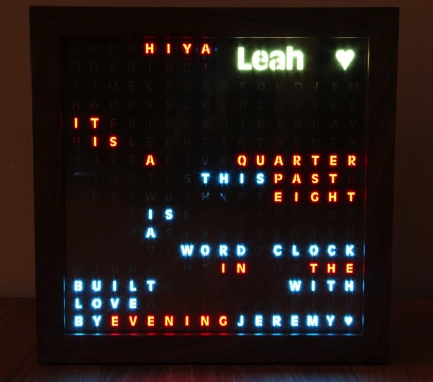 A Word Clock Built with Love JeremyBlum com