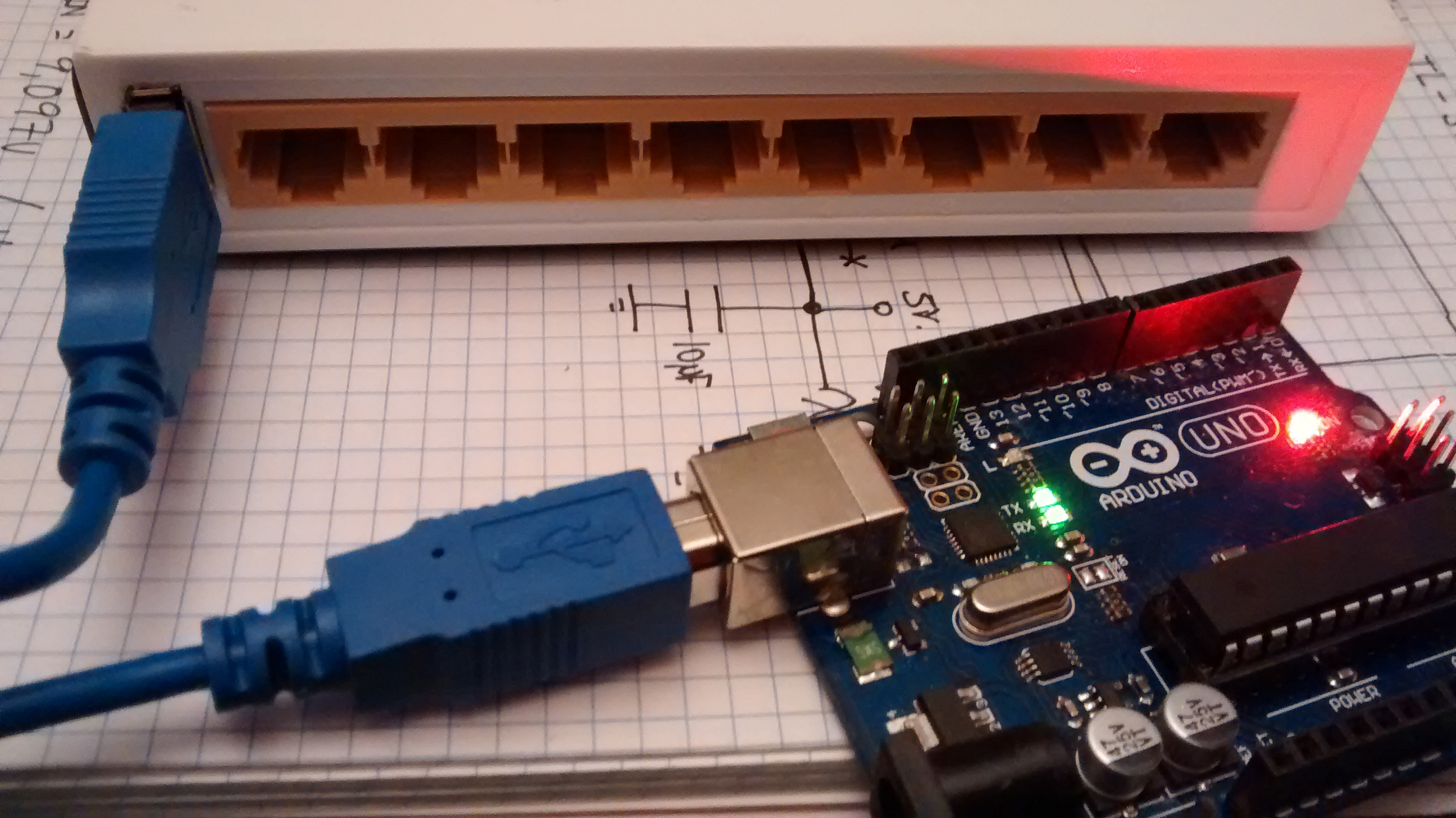 Ethernet switch hacked to include usb power port for
