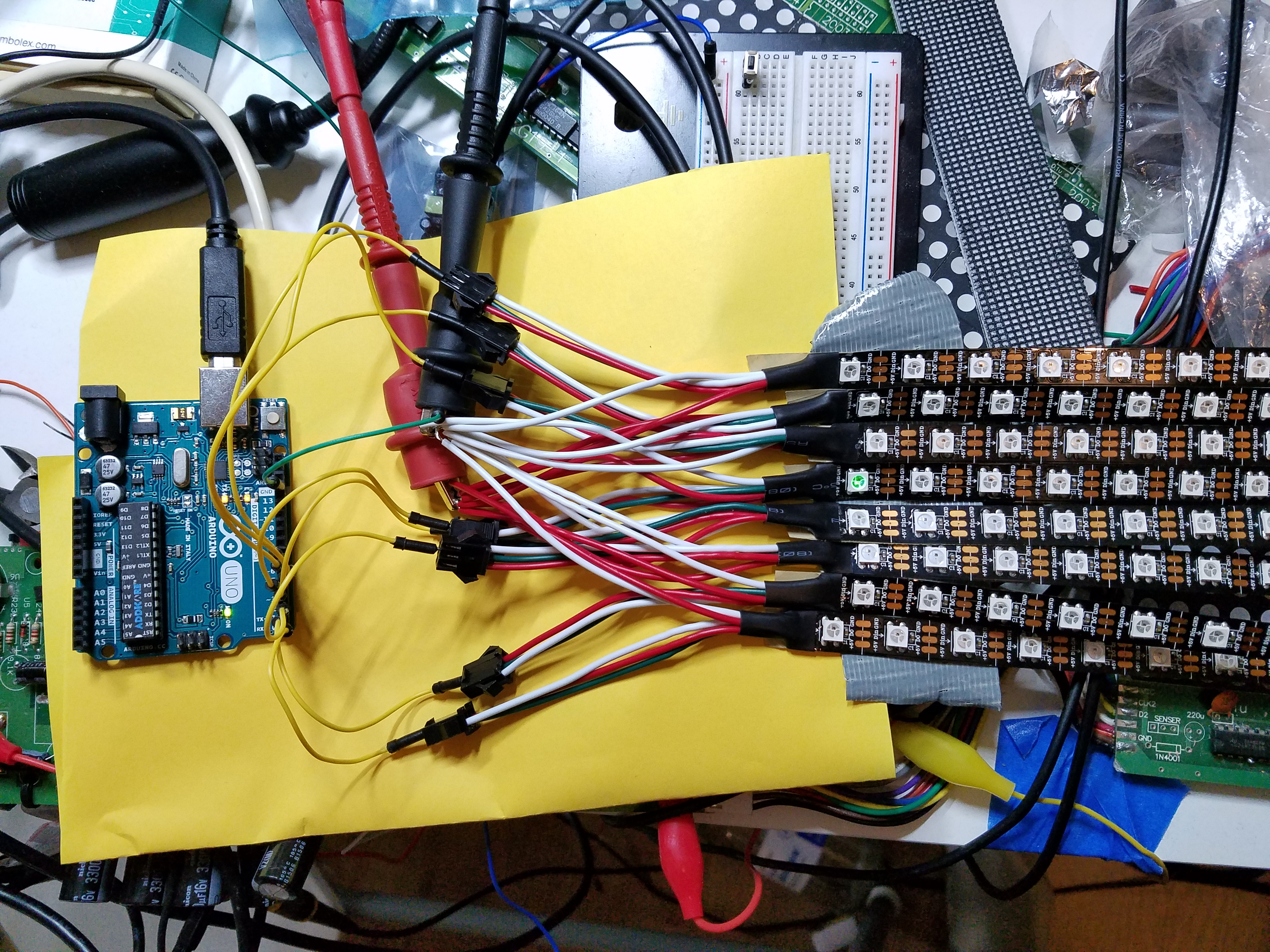 Parallel Bit-Banging Eight NeoPixel Strips from One #Arduino