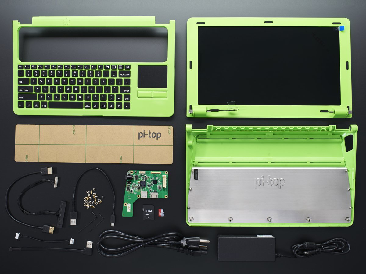 New Products Pi Top Green Amp Grey A Laptop Kit For