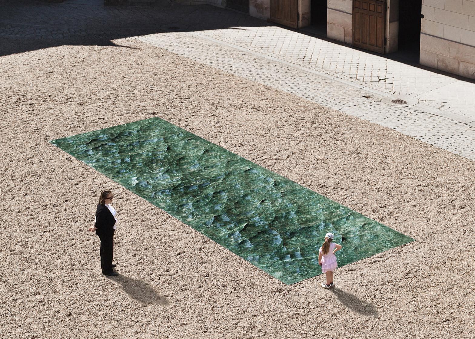 Liquid marble sculpture mathieu lehanneur petite loire installation international garden festival domaine de chaumont sur loire centre darts et de nature flowing green sea dezeen dezeen 1568 2