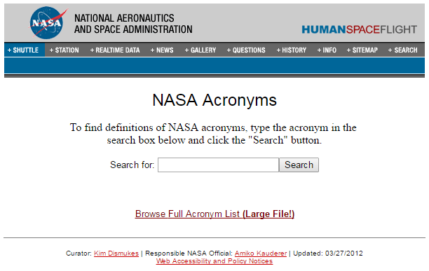 acronyms nasa flight control - photo #32