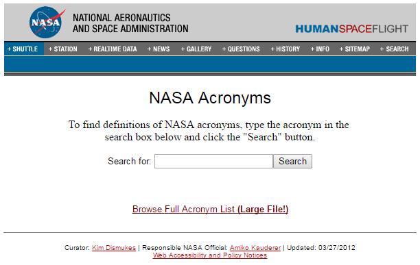 nasa acronym