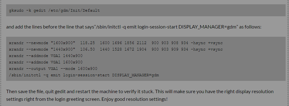 Instructions for Setting Screen Resolutions in Ubuntu with