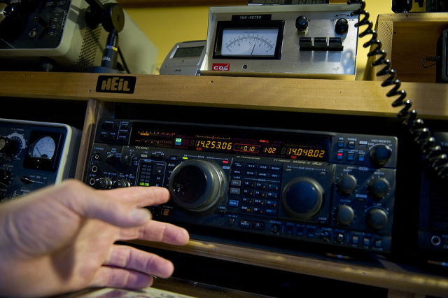 NORTHPORT, AL - JUNE 6: Old and new ham radio equipment makes up David Drummond's working collection at his home on June 6, 2011 in Northport, Alabama. He often fixes old ham radio equipment to add to his station. (Photo by Ann Hermes/The Christian Science Monitor via Getty Images)