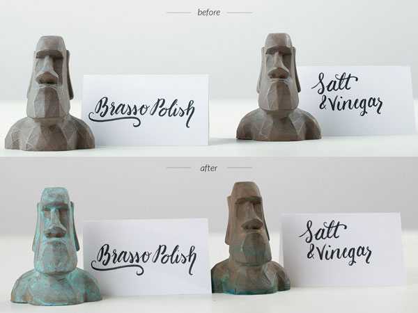 Moai before and after