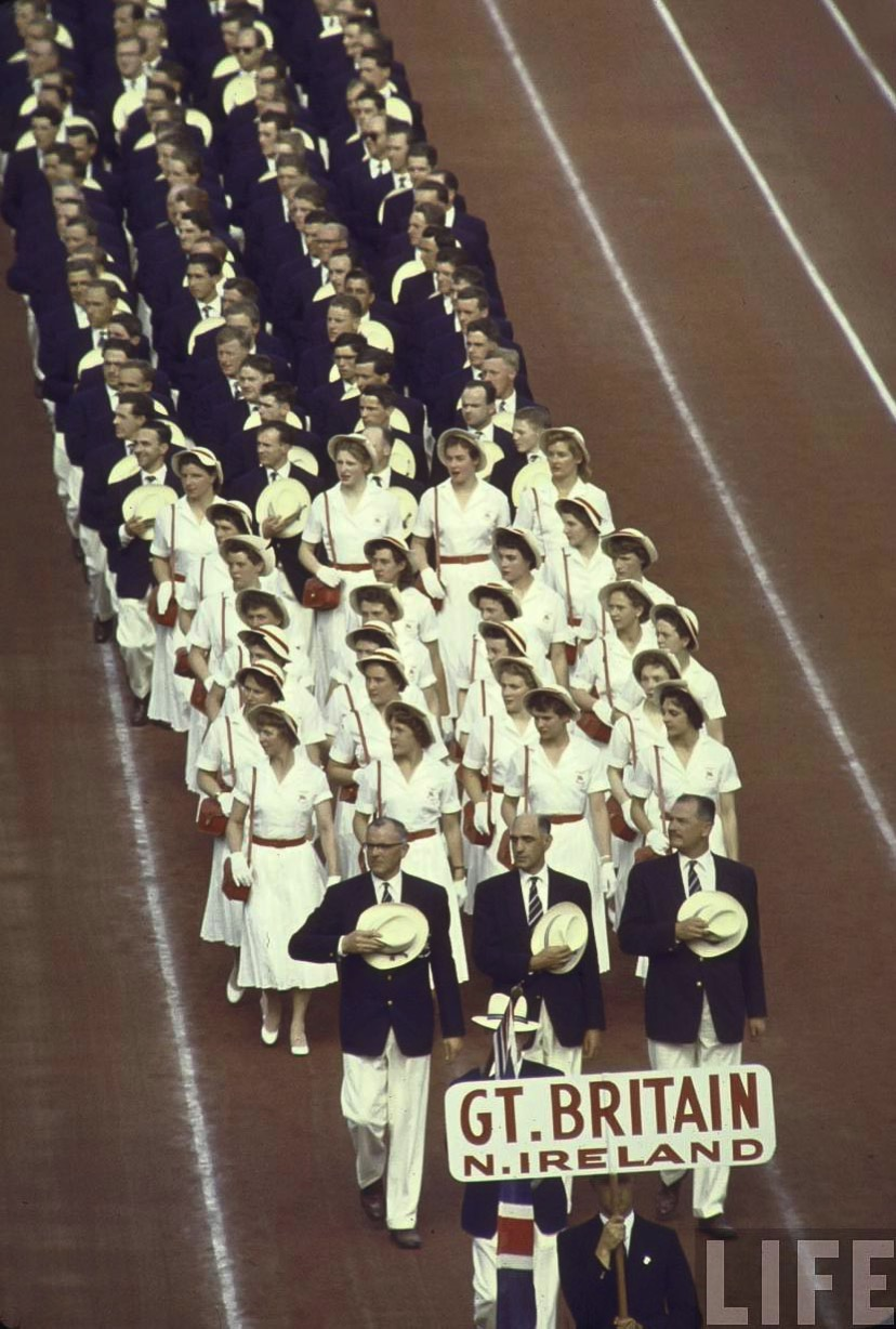 Summer Olympics 1956 Great Britain and Northern Ireland in parade