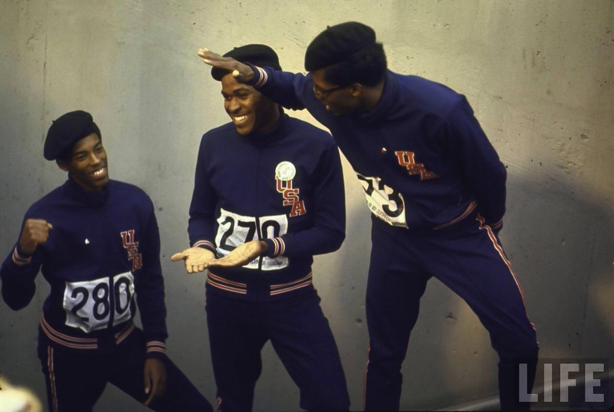 Summer Olympics 1968 Lee Evans C Larry James L and Ronald Freeman R after their victory for the 400 meter race 1200x805