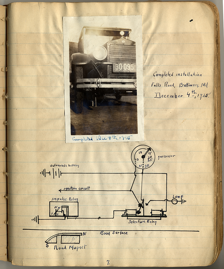 NMAH Archives Center Charles Adler, Jr., Collection  0351 Series 2 Box 12A Folder 1 Notebook page 7; from Charles Adler Jr., Maryland & Penn RR Bldg Baltmore, MD Vol I, shows drawing and photo of completed road magnet installation; 1925