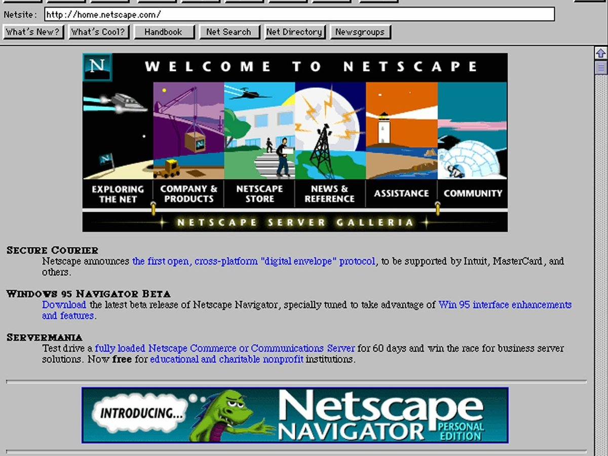 "The original caption of this photo read: ""The Netscape Navigator home page on the Internet's World Wide Web is seen Wednesday, Aug. 9, 1995."""