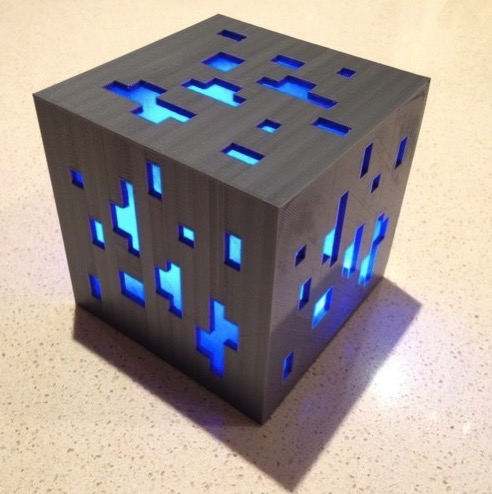 3D Printed Minecraft diamond ore lamp by I am me Pinshape