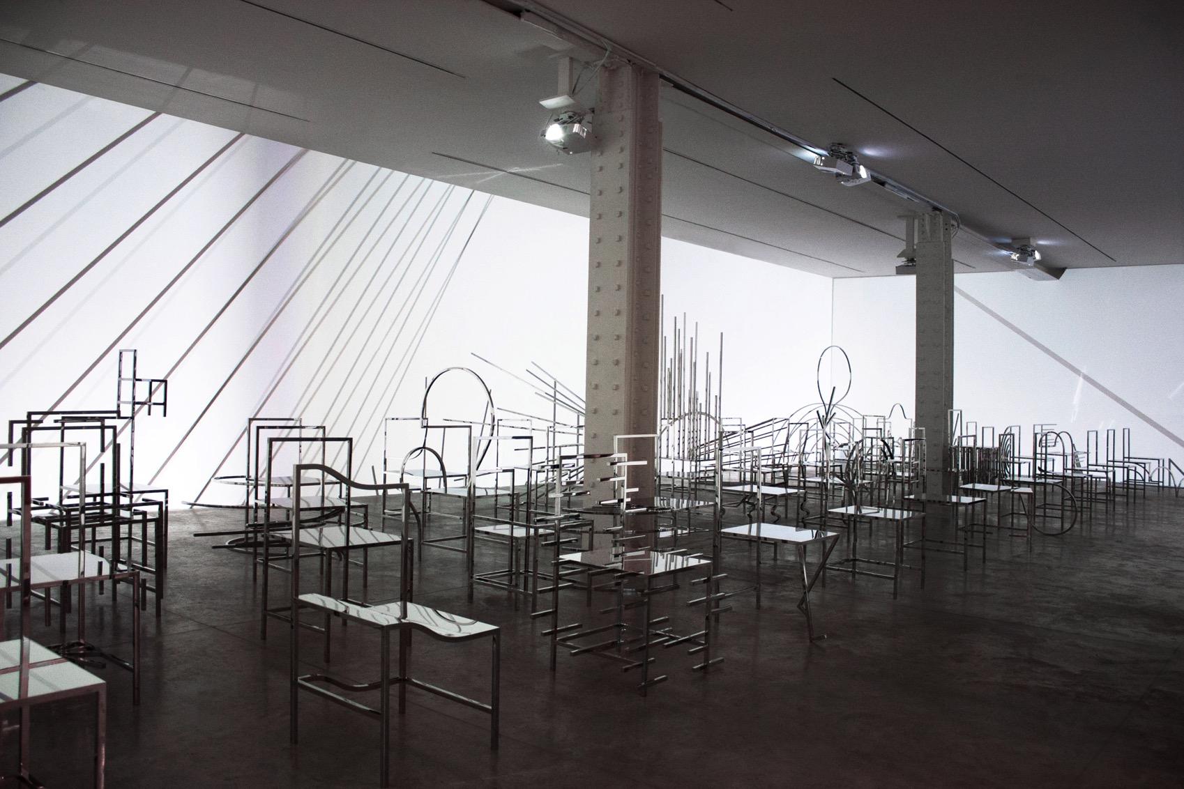 50 manga chairs nendo installation dezeen 2364 col 0