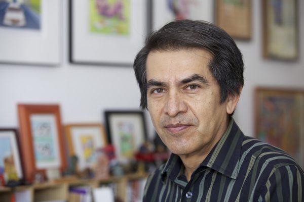 Photo of artist Felipe Galindo (Feggo) in his New York City studio, 2015.
