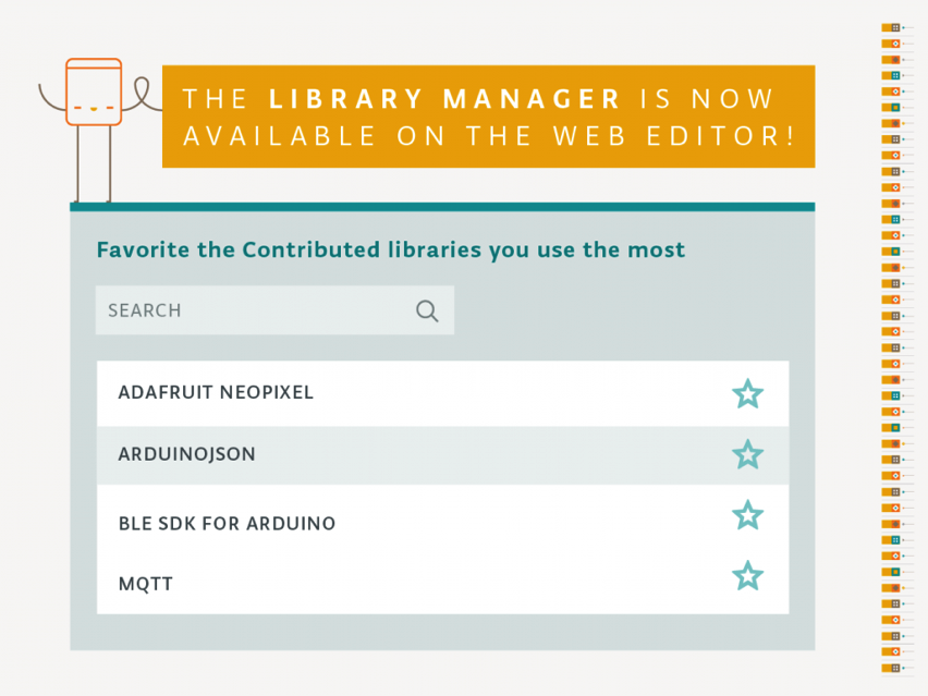 Arduino library manager is now available on the web editor