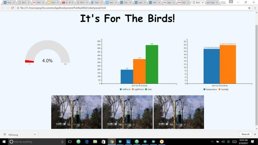 Arduino Bird Feeder Monitor Dash