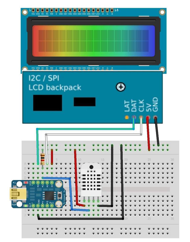 Trinket Temperature Humidity LCD Display