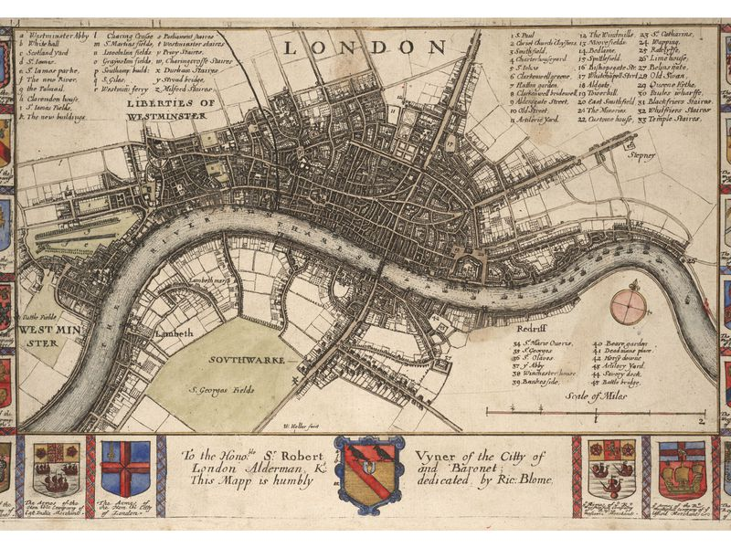 Wenceslas hollar plan of london before the fire state 2 variant 1