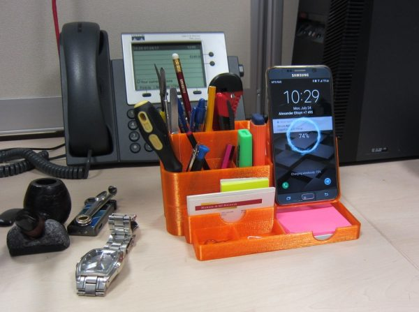 All In One Desk Organizer Pencil Holder With Wireless Charging Phone Stand Thursday Printing
