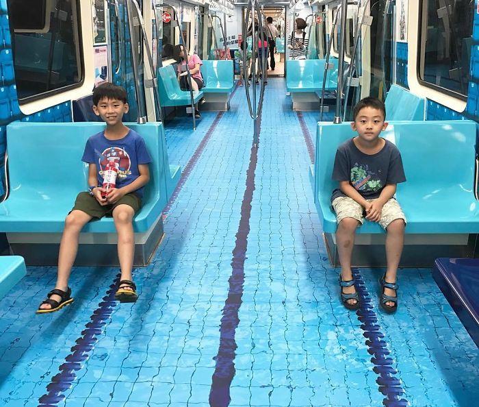 Subway cars decorated universiade sport venues taipei taiwan 1