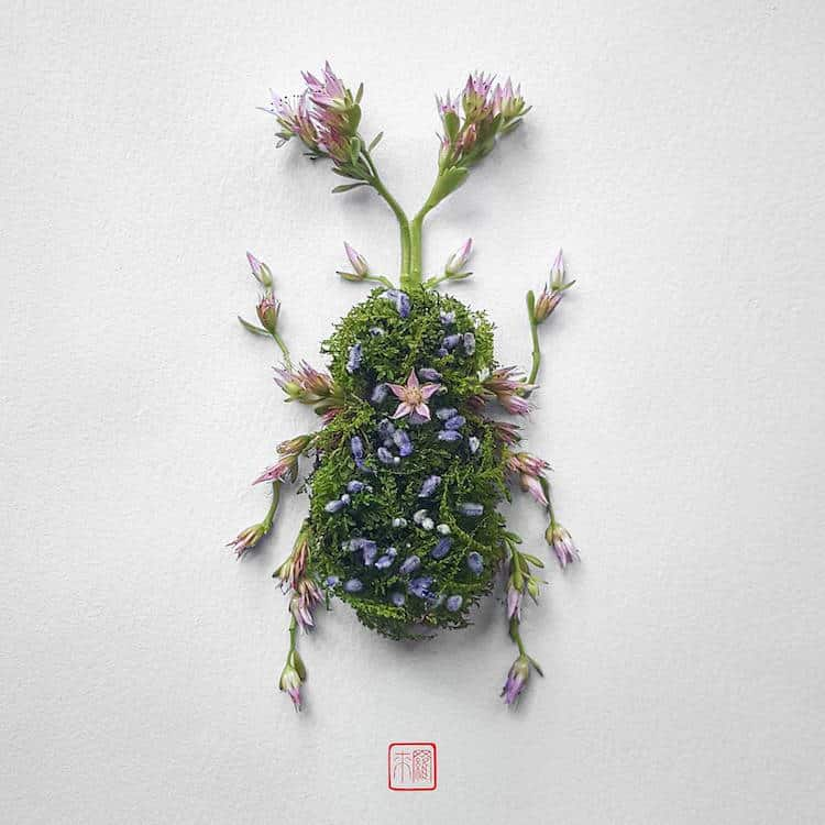 Raku inoue insect art floral arrangements 3