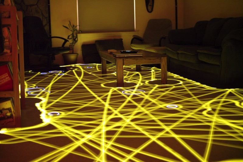 Roomba floor path long exposure light painting 12
