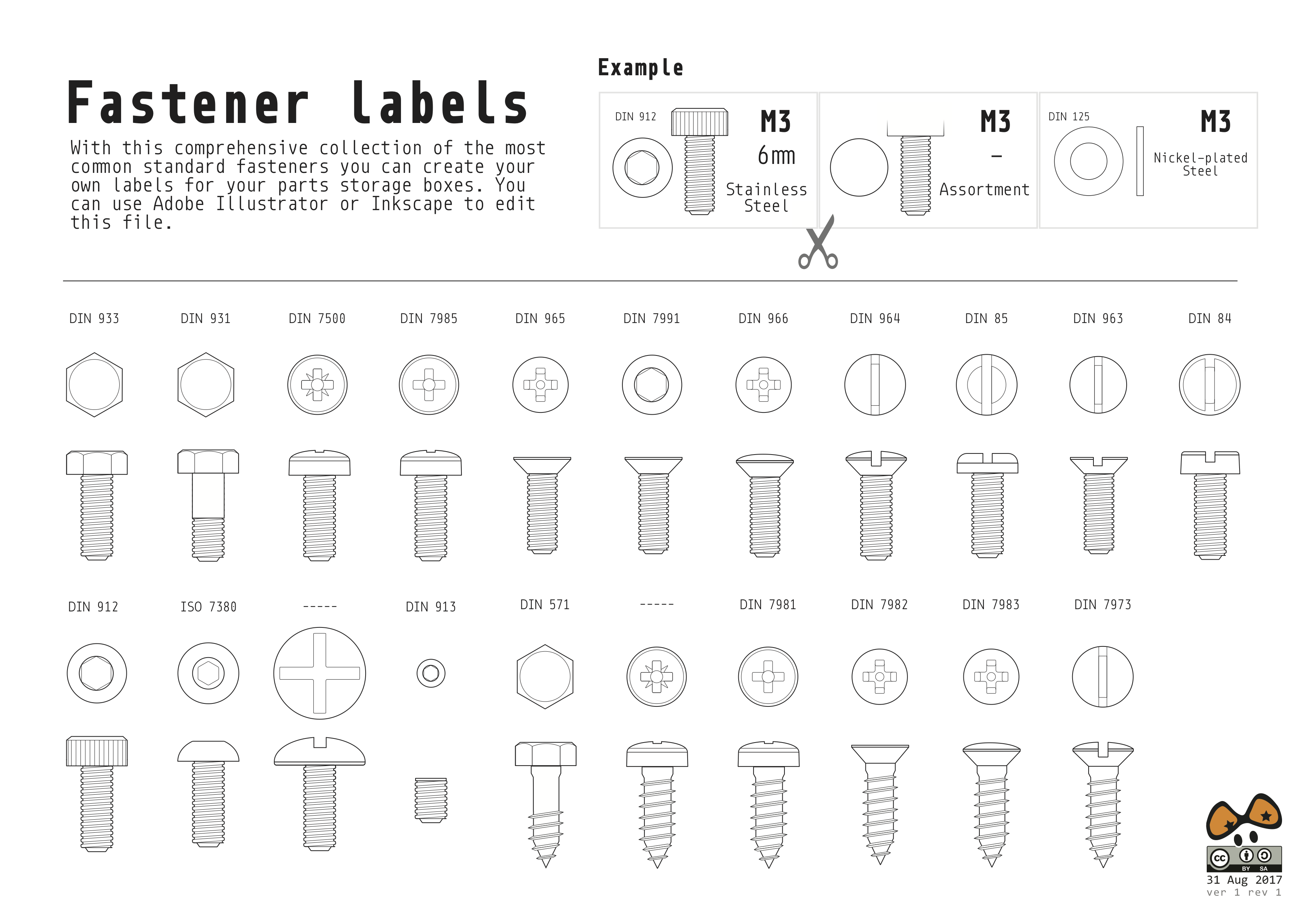 create labels for common standard fasteners with these