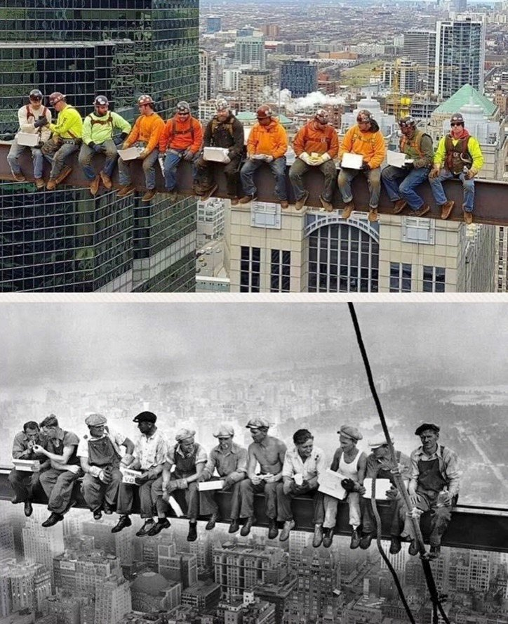 Chicago Ironworkers Recreate Lunch Atop a Skyscraper Photo With a Couple of Modern Day Twists Core77