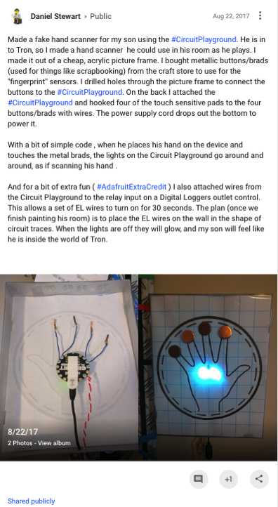 Made a fake hand scanner for my son using the CircuitPlayground He is in t