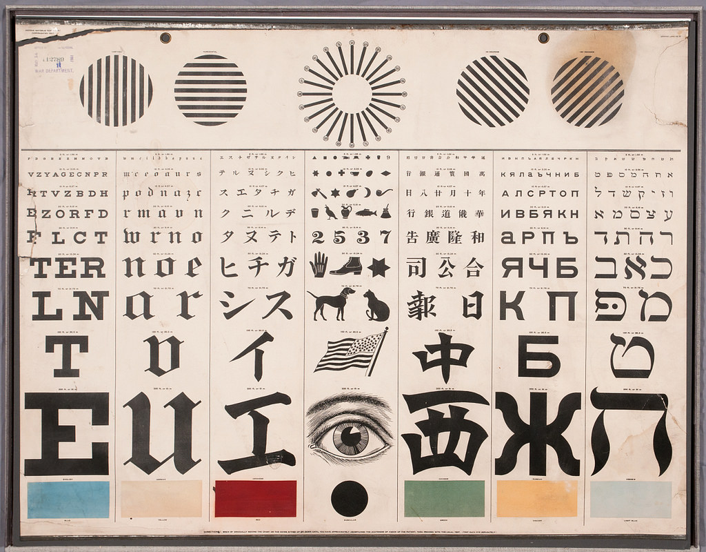 Look at this incredible eye test chart circa 1907 by george i love that this chart made by a german born optometrist contains multiple alphabet and logogram styles this allowed patients of various language nvjuhfo Gallery