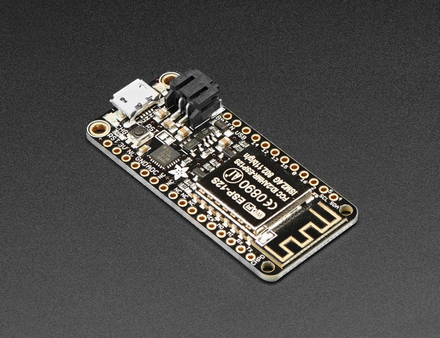 Adafruit Feather Huzzah With Esp8266 Loose Headers Id 2821 More Printed Circuit Boards We Buy Pictures Or Back To General E 1695 Industries Unique Fun Diy Electronics And Kits