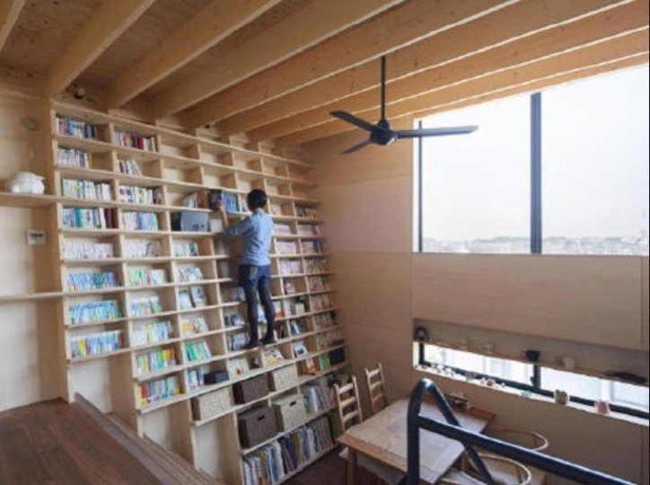 Japanese House With an Anti Seismic Climbable Bookshelf Core77 2