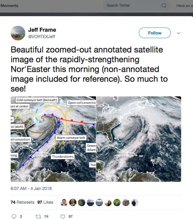 Jeff Frame on Twitter Beautiful zoomed out annotated satellite image of the rapidly strengthening Nor Easter this morning non annotated image included for refere https t co 4o3SWw7pKS