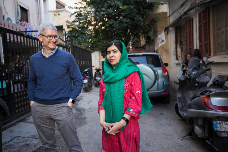 Tim cook and malala yousafzai 01212018