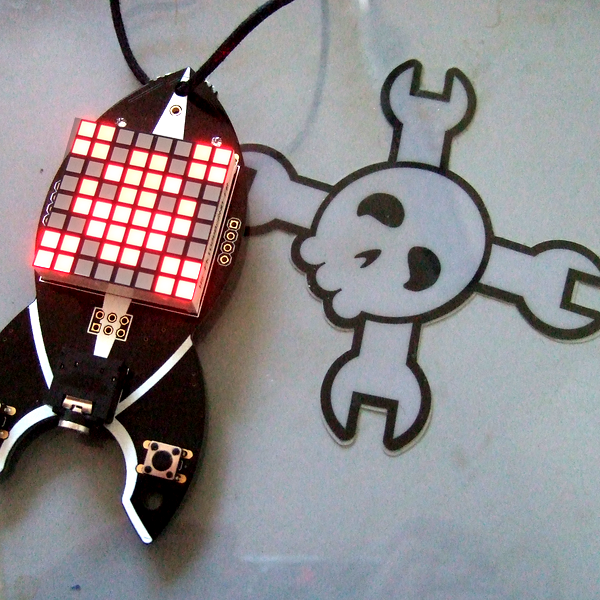 Blinkenrocket Badge with lovely LED matrix