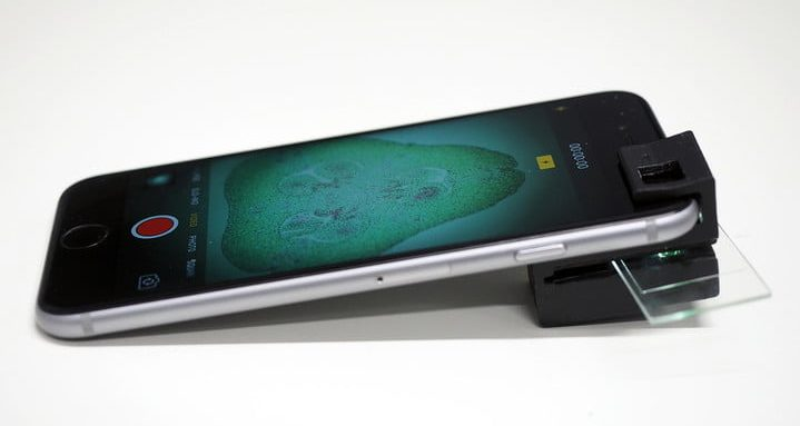 Smartphone with 3D printed microscope attachment