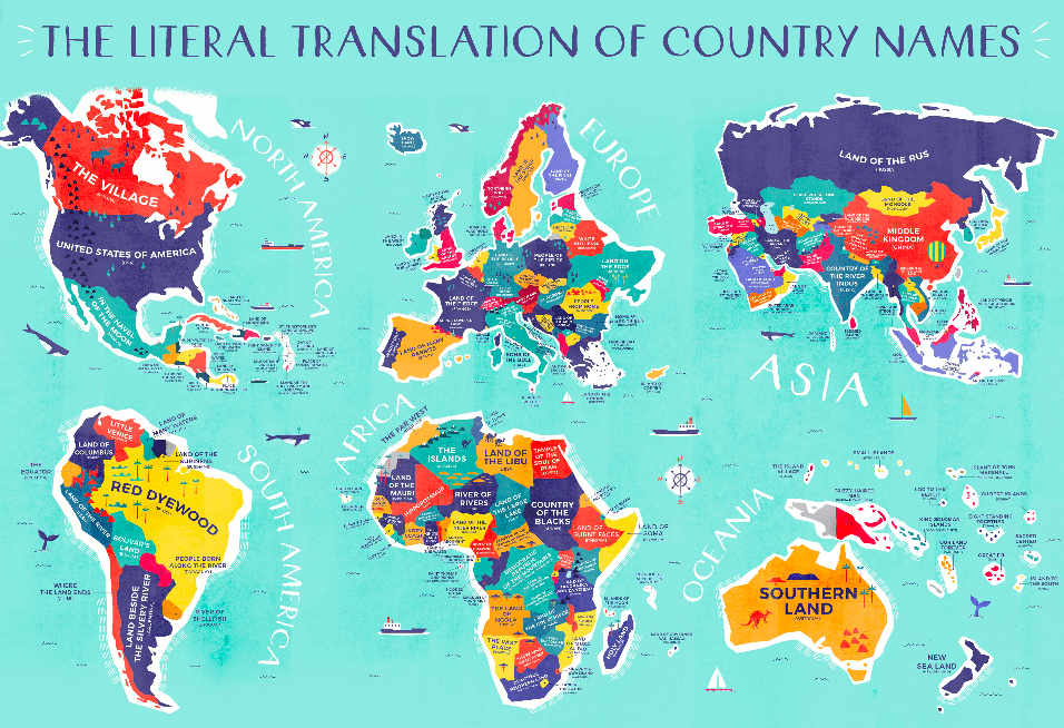 OC Literal Translation of Country Names map