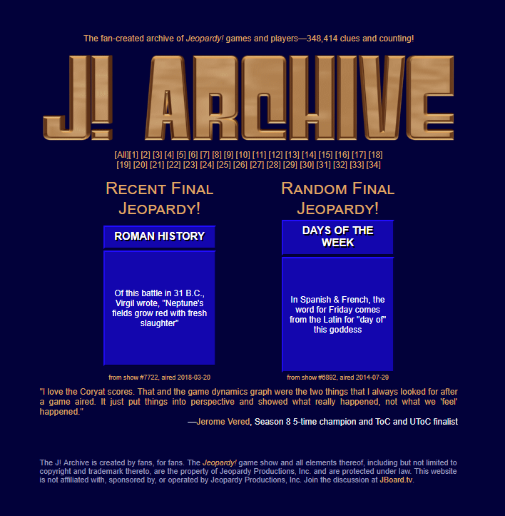 J archive nearly 350000 jeopardy questions spanning 34 seasons j archive nearly 350000 jeopardy questions spanning 34 seasons solutioingenieria Images