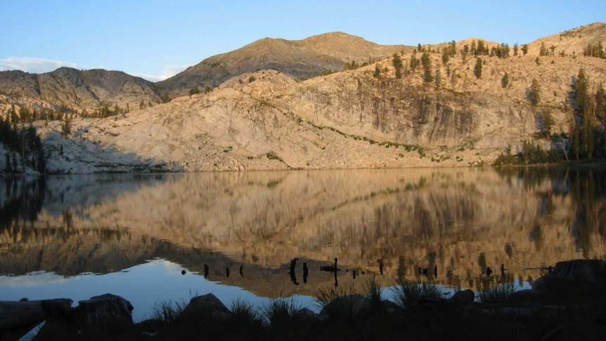 EDITED Sing Peak as seen from Lillian Lake  Lillian Lake is outside Yosemite Sing Peak is on border  1