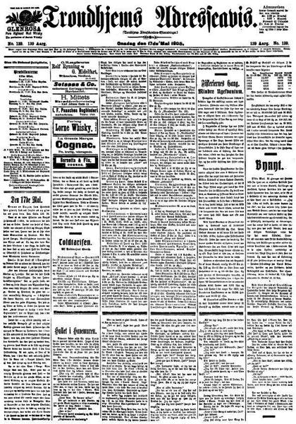 Trondhjems Adresseavis 17 mai 1905 framside