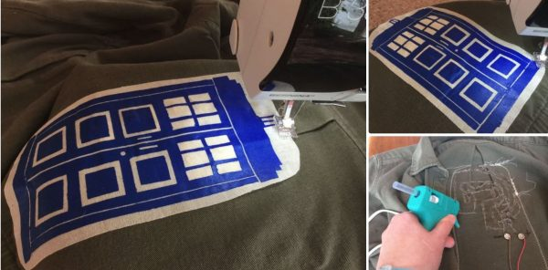 DIY Light-up TARDIS Patch Jacket