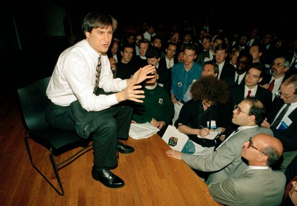 Steve Jobs, then C.E.O. of Next, speaking during the Unix Expo at the Javits Convention Center in New York. Oct. 30, 1991. CreditR