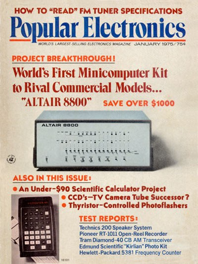 1974: The Altair 8800 microcomputer goes on sale.