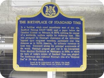 Birthplace of Standard Time plaque Toronto