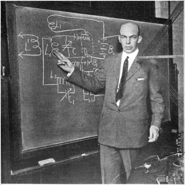 Edwin Armstrong at blackboard